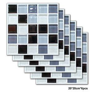 6Pcs / set aereo Mosaico Sticker Nero Grigio PVC autoadesivo Bagno Cucina Piastrelle parete impermeabile Scala Tile autoadesivi della decorazione