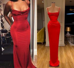 Elegante Red guaina abito da sera 2020 cinghia di spaghetti lunghi abiti da sera di Charme partito convenzionale degli abiti di taglie robe de soiree