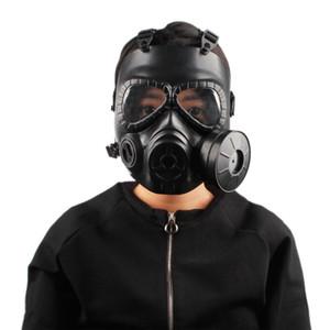 2018 Açık Spor Kask Çift Filtre Gaz Helmet'e koruyun Fanlı CS Taktik Ordu Ter Yüz Koruma Maskesi