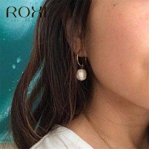 Cheap Hoop ROXI Freshwater Pearl Pendant Hoop Earrings for Women Gold Loop Circle Earrings Baroque Pearl Huggie Earring Trendy Jewelry Gift