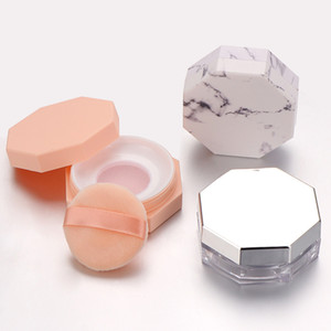 Rosa Marmor Muster Kunststoff leeren Loose Powder Pot Cosmetic Sichter lose Jar Reise Makeup Container
