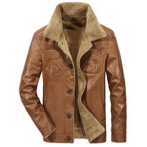 Artı Boyut PU Erkek ceketler Kış Sonbahar Yaka Boyun Kalın Uzun Kollu Adam Coats Casual Katı Renk Homme Dış Giyim