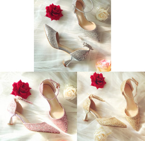 Fashion 3 Colors Luxury Beaded Sequined Designer Women Wedding Shoes High Heels 8cm 6cm Pointed Toes Pumps Wedding Dress Shoes Big Size