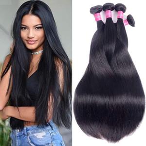 Brésil Extensions de cheveux humains 3 Bundles Silky 95-105g droite / pièce droite Vierge cheveux 3pcs / lot Couleur naturelle 8-30inch