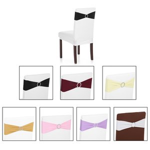 Hot New Wedding Chair Cover Band Elastic Spandex Chair Cover Sashes Bows Elastic Chair Bands With Buckle Slider Sashes Bows Deco
