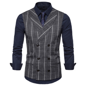 Mens Stripe Plaid Formal Blazer Vests Casual Double Breasted V-neck Fashion S-2XL Male England Style Casual Vests
