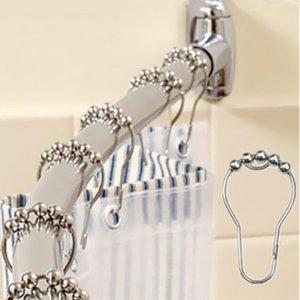 욕실 제품 폴란드 12PCS / 설정 커튼 링 폴란드 방청 샤워 커튼 후크 글라이드 금속 반지 욕실 샤워 봉 커튼