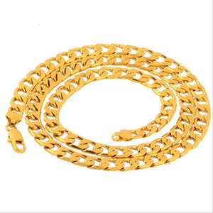 Gold-Plated High Imitation 18K Real Gold Womens Mens Cool Necklace Brass Jewelry Wholesale New Korean-Style Jewelry Flat Chain