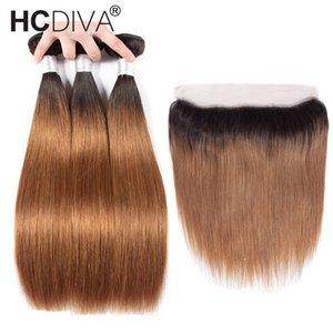 Ombre Связка с фронтальным Закрытием Бразильская Дева волосы Straight Brown Связка с Closure двухцветного Dark Roots Human Ткачество волос