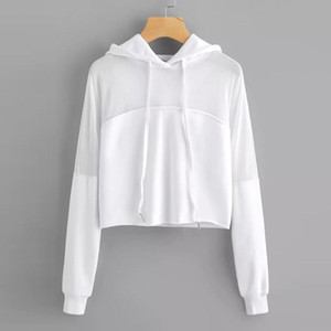 Harajuku Sweat-shirt Automne 2018 Femmes Streetwear Mesh Patchwork vêtements à capuche recadrée Tumblr Moletom Feminino