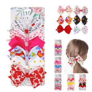 Children's hairpin bow hairpin Set European and American girls love bow bangs clip Valentine's Day gift 6pcs set Party FavorT2C5247