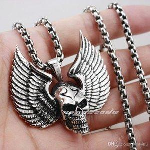Yüksek Best4UU Katı 925 Gümüş Kafatası Kanat Erkek Biker Rocker Punk kolye 8C012