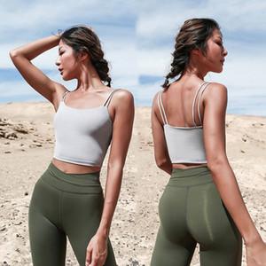 Outdoor Athletic Activewear Shirt Tops Multi Couleurs Crop Double Dragonne sport Yoga Vêtements Gilet Révéler Nombril réservoir S M L 42yw E19