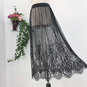 sexy lace mesh skirt a line long midi skirt women summer elegant Transparent black white wrap petticoat overskirt