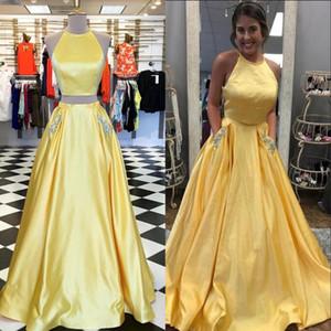 2020 новые желтые платья выпускного вечера с карманами две части вечернее платье вечерняя одежда полная длина спинки дешево