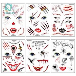 Yeni Halloween yüz dövme çıkartma Avrupa ve Amerikan kişilik yüzü çıkartmalar Masquerade korku çıkartmalar