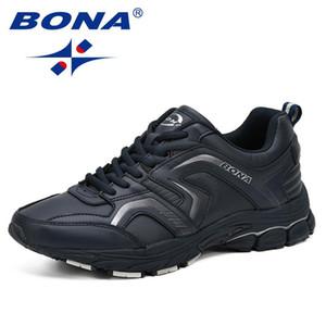 с коробкой BONA дышащие кроссовки Мужчины Повседневная обувь Chaussure Homme Модные кроссовки Мужчины Квартиры Lace-Up Zapatillas Mujer Zapatos De