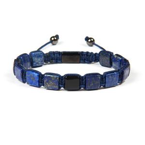 Ailatu 8x8mm Natural Lapis Lazuli Pedra Quadrada Macrame Flatbead Pulseira Para Casais Amante Presente Da Moda Y19051101