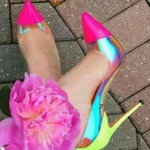 Rosa Blau Spitz Klar PVC Pumpen Frau Neongelb Mischfarbe Stiletto Heels Slip on Patchwork Flach Hochzeit Schuhe