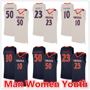 customize NCAA Virginia Cavaliers basketball jerseys Mike Scott 23 Ralph Sampson 50 Sam Hauser 10 jersey any name number size S-5XL