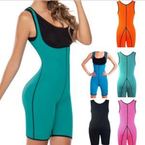 Womens One-Piece Body Shaper Short Sleeves Sleeveless Bodysuit Neoprene Sauna Sweat Fitness Slimming Shapewear Tank Top