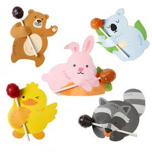 15pcs 귀여운 동물 토끼 곰 오리 사탕 롤리팝 장식 카드 결혼식 크리스마스 생일 파티 캔디 선물 용품 공급