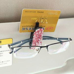 Auto Fastener Clipe Rhinestone Diamante Sunvisor Óculos Óculos de Sol Ticket Car pasta Cartão Receipt Clipe de armazenamento Titular Parte 4