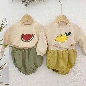 0-24M Autumn Newborn Baby Boy Girl Casual Sweatshirt Fruit Print Long Sleeve Tops+ Shorts+hat Outfit Kids Clothes Set