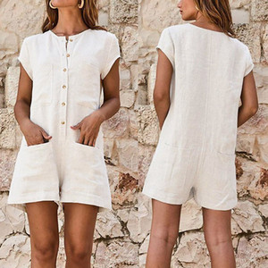 Hot Women Linen Cotton Plus Size Button Down Tute Shorts Playsuits for Summer CGU 88