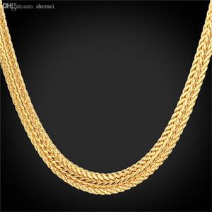 Оптово-Gold лисохвост ожерелье 18K»Stamp Платина / 18K Real позолоченный / розовое золото Trendy 46см / 55см / 66CM золота цепи ожерелье для мужчин N942