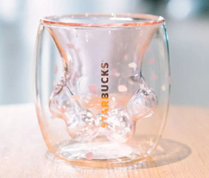 оптовой продажи Starbucks Cat Paw Кружка Cat коготь Чашка 2019 Starbucks Limited Eeition Cat Foot Cup Игрушка Sakura 6oz Розовой двустенное стекло Кружки