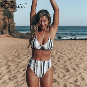 SEASELFIE Tricolor Stripe Print Front Bowknot Bikini Sets 2020 Women Sexy Ruched High Waist Two Pieces Swimsuits