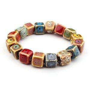 Керамические браслеты бусина вулканического камень богемной глазурь браслет чакра браслеты