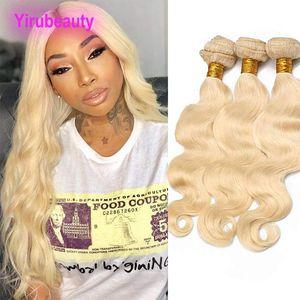 Brasilianische Reine Haarkörperwelle Gerade Blonde 613 # Farbe Peruanische Malaysische Indische Reine Haarverlängerungen 3 STÜCKE Doppelhaareinschlagfäden 10-32 zoll
