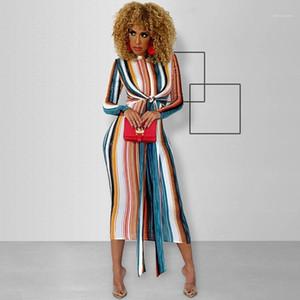 Bodycon платья Мода Пояса Щитовые печати платье длинным рукавом Повседневные платья Женская одежда полосатые Print Designer