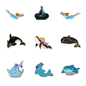 Lapel Pins Badge Enamel Pins Brooches Whale Shark Dolphin Ocean Animals Underwater World Fishfor Kids Fashion jewelry Accessory