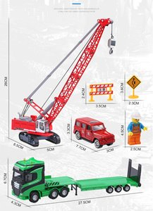 KDW Diecast Alloy Building Site Model Toy, 1:50 Transport Vehicle, Crane, Ornament for Xmas Kid Birthday Boy Gift, Collecting, 626034, 2-2