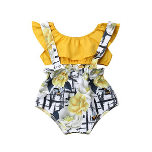 2019 Canis Summer 2Pcs Newborn Baby Girl Floral Romper Tube Yellow Collar Top Overall PP Shorts Pants Outfit Clothes Cute Set