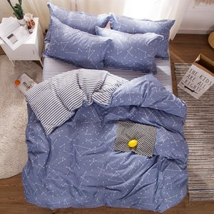 4 pcs Soft Cartoon constellation Bedding set Starry Sky fashion Quilt Cover blue Grey white stripe Bed Sheet Pillowcase