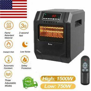 Eléctricos portátiles calentador radiante 1500W calentador de infrarrojos del mando a distancia con los modos de ahorro de energía con temporizador Ajuste de cerámica