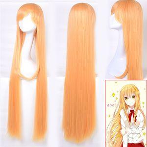 Anime Doma Umaru Amarelo Laranja Perucas Cosplay Meninas Meninas Umaru-chan Peruca Para As Mulheres Do Partido longos cabelos Sintéticos