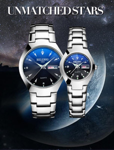 Couple Belushi Steel Band Black Watch route Dual Watch Calendar lumineux Blu-ray Couple étanche Modèle