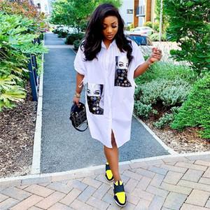 Женская рубашка конструктора платье печати и блестки Щитовые Дамы платья лета Свободные белые рубашки вскользь платья
