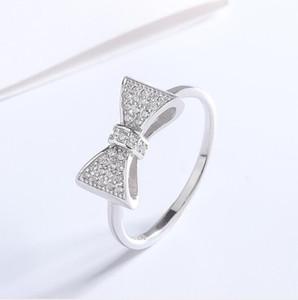 Art und Weise 925 Sterlingsilber-Bogen-Knoten-Braut-Ring Zirkonia Inlay Ehering für Frauen-Damen Mikro-Einstellung Verlobungsring für die Braut