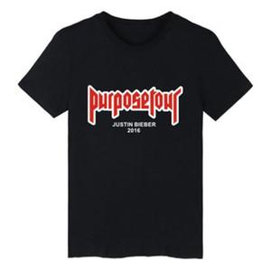 Mens estate magliette Justin Bieber Purpose Tour a maniche corte lettera stampata Tee Slim girocollo T camicia perfetta Dimensione 2XS-4XL