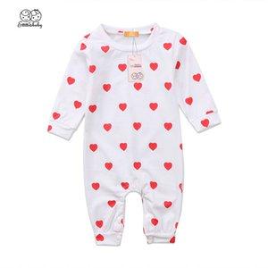 Criança Adorável bebé recém-nascido menina Cotton bebek GIYIM Coração Impresso manga comprida Romper Fille Jolie Jumpsuit Clothes Outfit