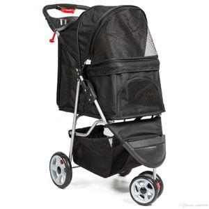 3-Rad-Folding Pet Stroller Reiseträgerwagen für Katzen und Dogs- Schwarz