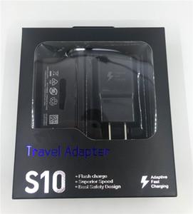 S10 2 em 1 kits de carregador rápido carregamento USB tipo de carregador de parede S10 C cabo adaptador Travel Retail Package Para Samsung S10 S9 mais S8
