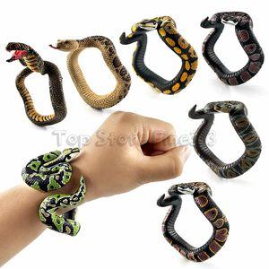 Fake Snake Novedad Juguetes Simulación Snake Resina Pulsera Scary Rattlesnake Cobra Horror Funny Birthday Party Toy Broma broma Regalos