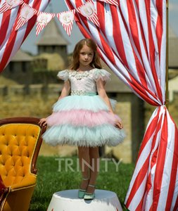 New Lovely Hunter Organza Layers Beads Flower Girl Dresses Girls' Pageant Dresses Birthday Holidays Dresses Custom Size 2-14 FF720251